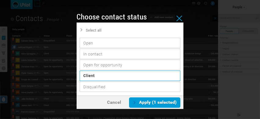 Contacts filters - Choose contact status