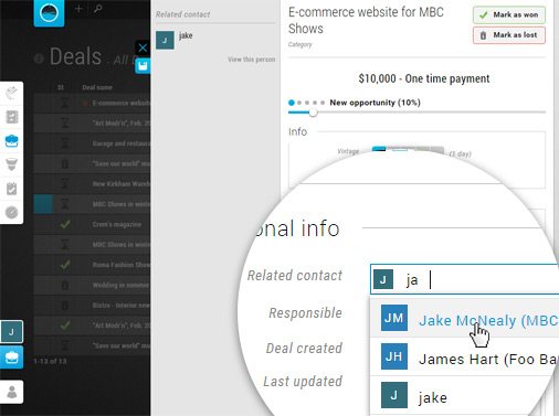 Assign new contact on the deal view