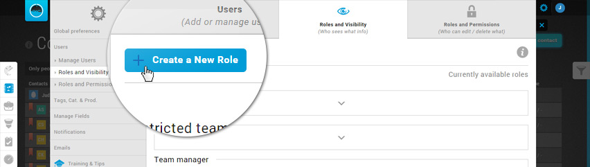 Settings - Roles & Visibility - Add new role
