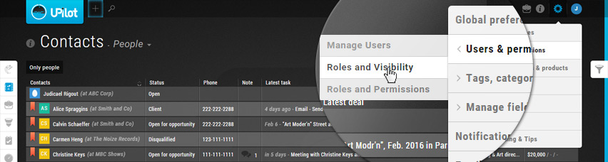 Settings menu - Go to Roles and Visibility