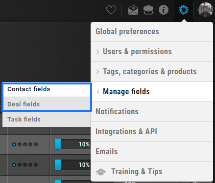 Settings Manage Fields